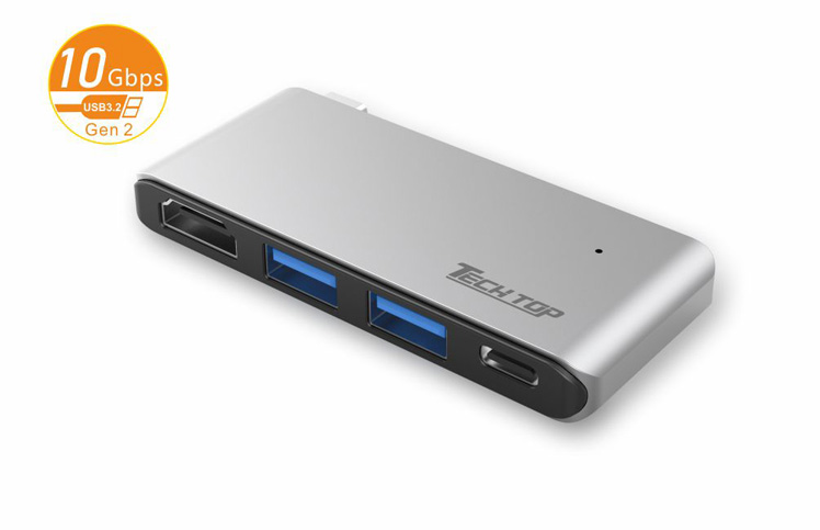 D1033A: USB3.2 Gen2 10Gbps Type-C to HDMI(4k@30Hz) + USB-A HUB(10Gbps) + PD 100W
