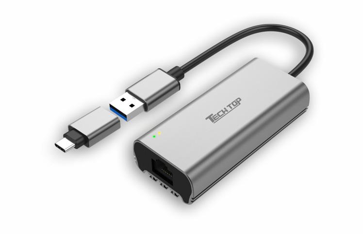 U1308A: USB 3.1 Gen1 Type A / C to 2.5Gbps Ethernet Converter (Aluminium)