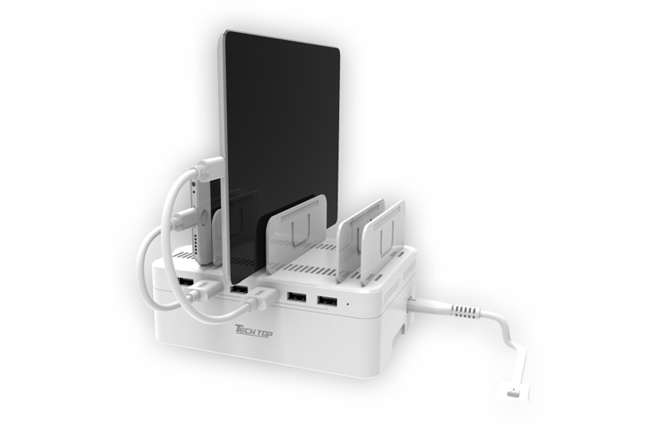 Y-2181: 60W, 6-Port USB Smart Charging Station